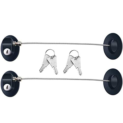 Bestmaple - Juego de 2 cerraduras para puerta de refrigerador, congelador, archivador, cajón, gabinete, color blanco con 4 llaves (negro)