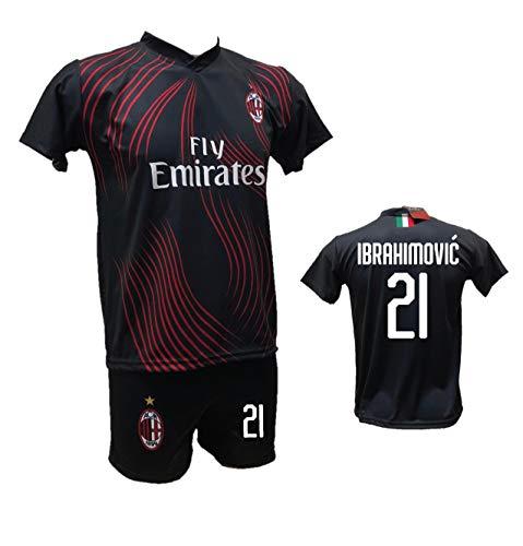 DND D'Andolfo Ciro - Camiseta de fútbol Milan Terza Zlatan Ibrahimovic negra y pantalón con número 21 impreso, réplica autorizada 2019-2020, tallas de niño y adulto