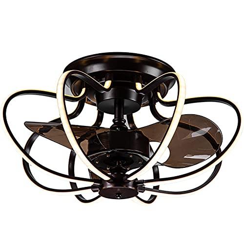 YUFENGDING Moderno LED Semi Flush Monte Light Fandelier Ventilador de Techo con luz y Control Remoto 3 Colores 3 velocidades Ventilador Cerrado 220V-60cmX30cm