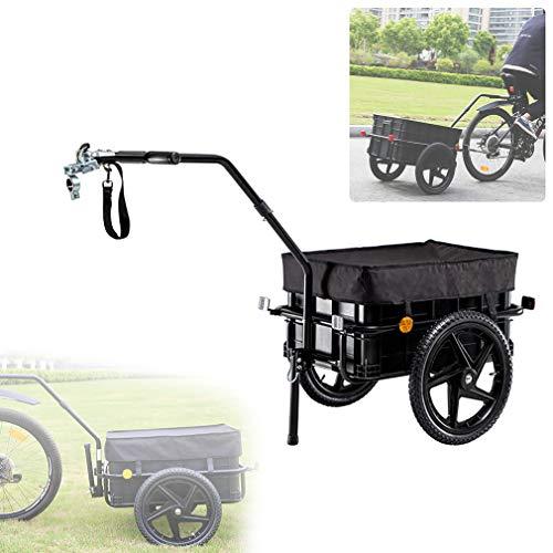 HUA JIE Fahrradanhänger, Lastenanhänger mit Kupplung & Deichsel, Anhänger für Fahrrad 80 kg Zuladung, Transportanhänger mit Reflektoren