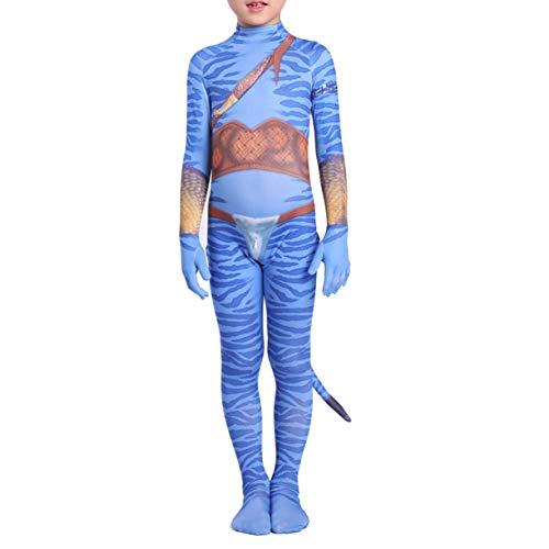 Avatar Cosplay Kostüme Mit Schwanz Superhero Rollenspiele Outfits Für Halloween Film Masquerade Lycra Leistung Bodysuit 3D Printing Jumpsuits,Kids/XL(130~140CM)