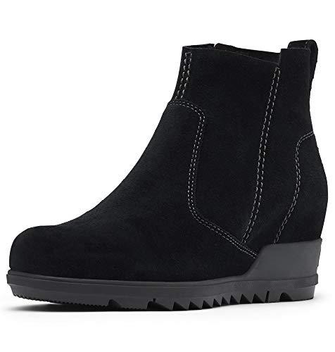 SOREL Women's Evie Bootie — Black — Waterproof Leather Rain Boots — Wedge Ankle Booties — Size 5.5