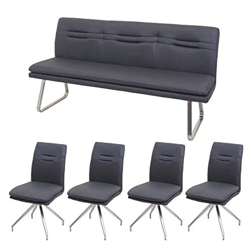 Mendler Esszimmer-Set HWC-H70, Sitzgruppe Esszimmergruppe Esszimmergarnitur, Stoff/Textil Edelstahl gebürstet ~ dunkelgrau 180cm