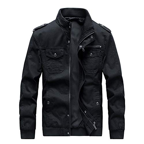 Buytop Men's Casual Winter Cotton Military Jackets Outdoor Full Zip Army Coat(812Black-M)