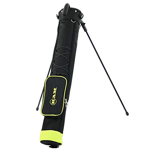 RAM Golf Pitch and Putt Lightweight Golf Carry Bag with Stand Black/Neon