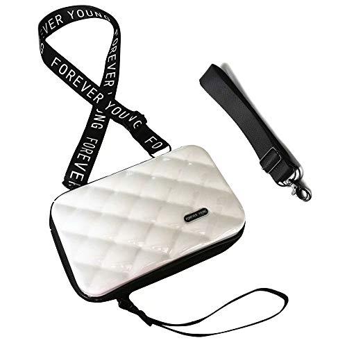 Flywill Handy Umhängetasche Mode Damen Schultertasche Hart ABS+PC Kofferform Kupplung Diamantgitter Handtasche mit Abnehmbar Schultergurt Handschlaufe Klein Tasche für Handy unter 6.5 Zoll, Weiß
