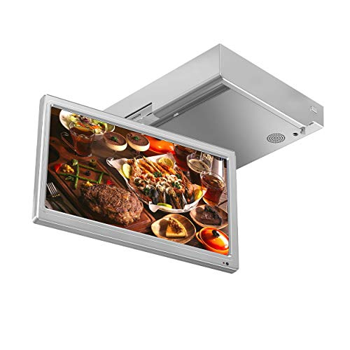 KUVASION 15.6 Inches Flip Down Smart Kitchen TV, Under Cabinet Smart Kitchen TV, Glossy Silver Grey, WiFi, RJ45 Ethnet, ATSC+NTSC, HDMIx2