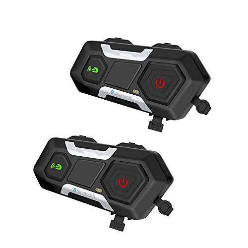 SUOTENG Sistema de comunicación de la Motocicleta, 1200M Motocicleta Intercomunicador Casco Casco Casco Bluetooth Intercom Inalámbrico Auriculares Impermeables Interphone (Set Meal : 2PCS)