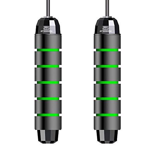 anruo 1 cuerda de saltar de velocidad ajustable con rodamiento de alambre de acero para entrenamiento de fitness, cuerda de saltar gruesa antideslizante mango de espuma verde