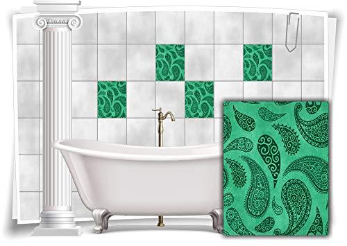 Medianlux Fliesen-Aufkleber Fliesen-Bilder Paisley Barock Nostalgie Retro Floral Mint Bad WC Deko Folie Badezimmer Dekoration, 8 Stück, 20x25cm m22h-mint-115336