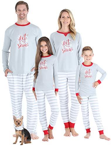 Sleepyheads Matching Family Christmas Pajama Sets, Grey Stripe Snowflake - Mens (SHM-5012-M-LRG)