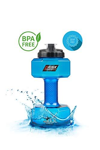 INCREASEFITNESS Hantel-Trinkflasche 2.2L Trinkflasche Im Hanteldesign Sport-Trinkflasche Für Das Gym Fitness Flasche | BPA & DEHP Free Fitness Bottle (Blau)