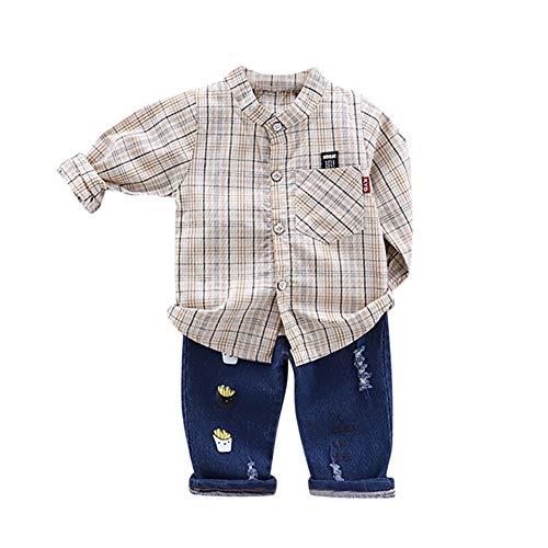 Gyratedream kinderen katoen zomer cartoon plaid print blouse korte mouwen revers tops casual + broek set voor 0-3 jaar XL grey