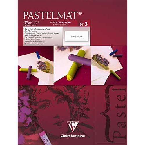 Clairefontaine 18 x 24 cm PastelMat Pastel Card Pad No3, 360 g, 12 fogli, bianco
