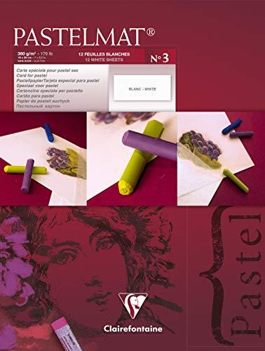Clairefontaine 96001C - Un bloc encollé papier Pastelmat 12 feuilles 18x24 cm 360g, Blanc