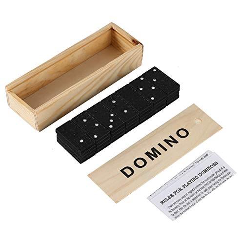 Lorenlli Juego de dominó   Juego de fichas de dominó de 28 Piezas Juego de Mesa Artesanal de números clásicos con Estuche de Madera