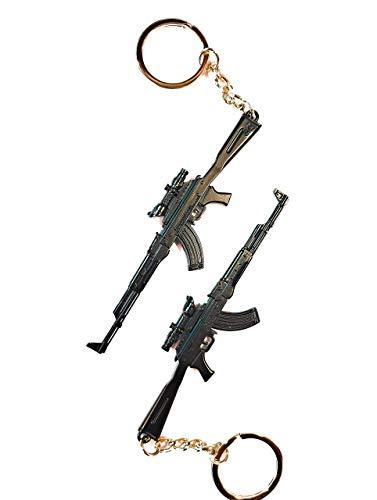 n/d Portachiavi Pistole, Modellino AK 47 Nero, 11cm Portachiavi in Metallo Fucile D'assalto mirino di precisione ak47 Armi Ciondolo Regalo Adulti e Ragazzi