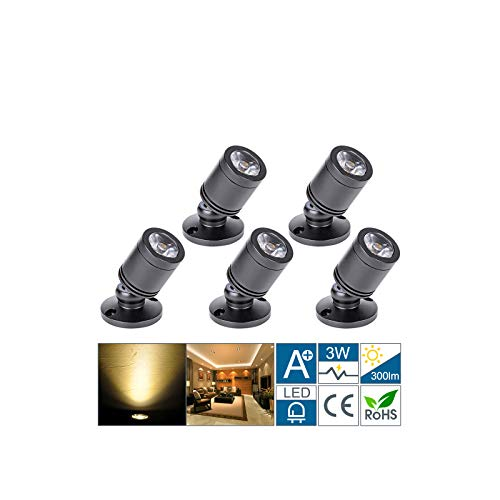Klein LED Einbaustrahler 5 Stück 3W Mini led spot, 360° Schwenkbar, 230V Aluminium Deckenstrahler Deckenspots für Schrank, Flur, Galerien, Geschäfte