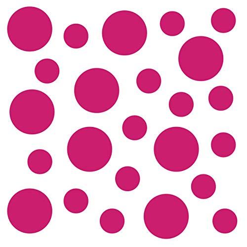 kleb-Drauf | 24 Punkte | Pink - matt | Autoaufkleber Autosticker Decal Aufkleber Sticker | Auto Car Motorrad Fahrrad Roller Bike | Deko Tuning Stickerbomb Styling Wrapping