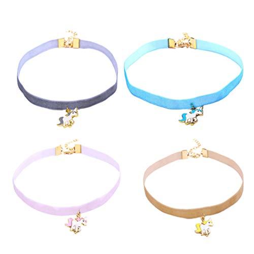 Holibanna 4 Unids/Set Collar de Gargantilla de Unicornio Collar Colgante de Unicornio Joyería de Unicornio para Niñas Damas Mujer Mujer Azul Rosa Gris Café