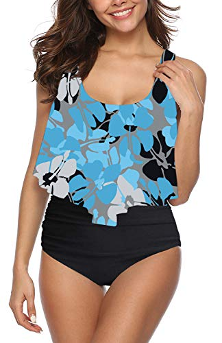 I2CRAZY Racerback Dresslily Swimsuits for Women Two Piece Ruffled Flounce Tankini Top High Waisted Ruched Bottom Underwire Bathing Suits-L,Blue Clover