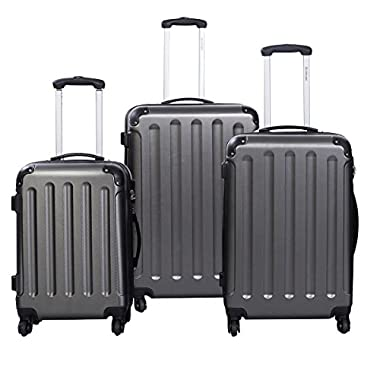 Goplus 3 Pcs Luggage Set Hardside Travel Rolling Suitcase ABS Globalway (Gray)