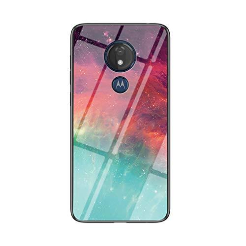 BRAND SET Carcasa para Motorola Moto G7 Play Funda Protectora Transparente con Patrón Color Starry Sky Cubierta Trasera de Vidrio Templado + Borde de Silicona Case Antigolpes-CSXK