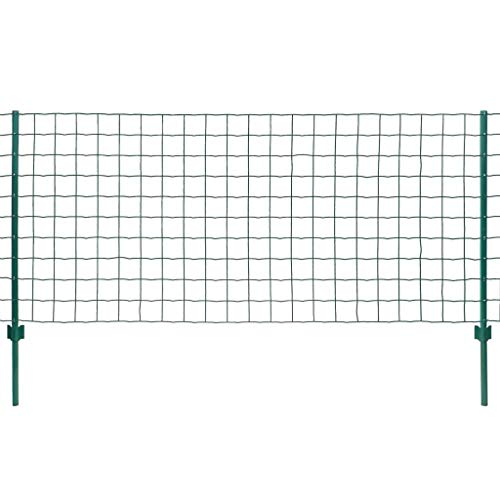 vidaXL Maschendrahtzaun Komplettset 20x1,2m Stahl Grün Metallzaun Gartenzaun