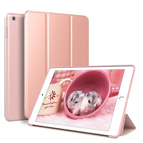 KenKe 新型 iPad 9.7 インチ 2017/2018 ケース 超軽量 柔らかいシリコン PU材質カバー 3段階折り畳み可 スタンド マグネット付き 自動スリープ機能 A1822 A1823 A1893 A1954 iPad 第5世代/ 第6世代 に対応 (ローズゴールド) [並行輸入品]