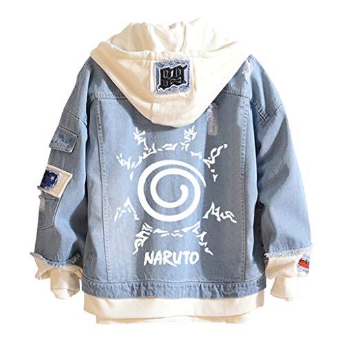 Naruto Jeansjacke Herren, Damen Naruto Akatsuki Uchiha Sasuke Kakashi Leuchtend Uzumaki Hoodie Denim Jacket Jungen Mädchen Anime Jeans Jacke Pullover Pulli Sweatshirt Kapuzenpullover Shirt (26,M)