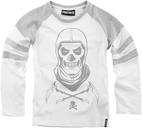 Fortnite Jungen Langarmshirt T-Shirt (Weiss-Grau, Größe 152)