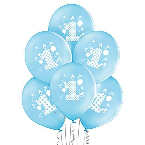 ocballoons 20 Palloncini 1° Primo Compleanno Biodegradabili Made in ITALIY Bimbo Azzurro Addobbi e Decorazioni Kit per Feste Bambino Gonfiabili con Bombola a Elio