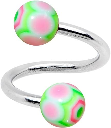 Body Candy Womens Stainless Steel Watermelon Rainbow Spiral Twister Belly Button Ring product image