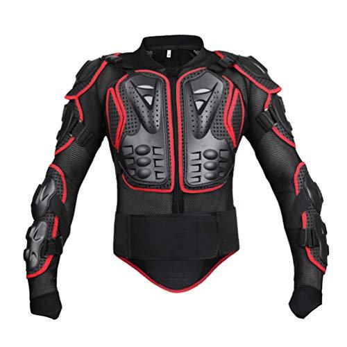 LucaSng Motorrad Schutz Jacke Motocross Protektorenjacke mit Rückenprotektor Ganzkörper-Rüstung, Schutzausrüstung Berg Reiten Skaten Snowboarden Brustpanzer Damen und Herren (Schwarz Rot, 4XL)