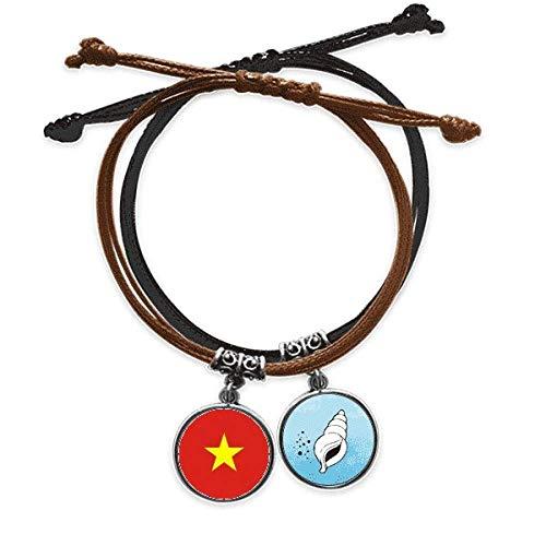 DIYthinker Vietnam Bandera Nacional país símbolo Mark Patron de Asia Pulsera Cuerda Mano Cadena Cuero Cobo Pulsera