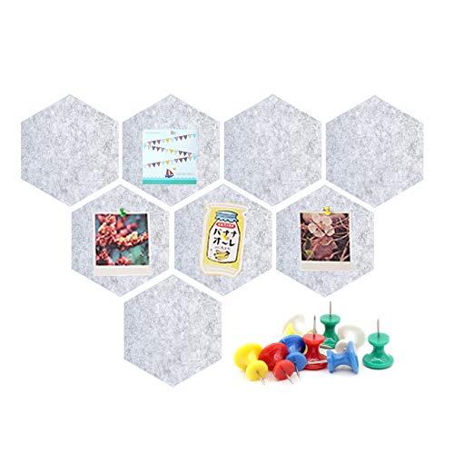 Tablero de corcho de fieltro hexagonal, juego de 8, tablero de anuncios Alldo, tablero de estado de ánimo, azulejos, tableros de alfileres adhesivos con 40 alfileres para fotos de oficina en casa ✅