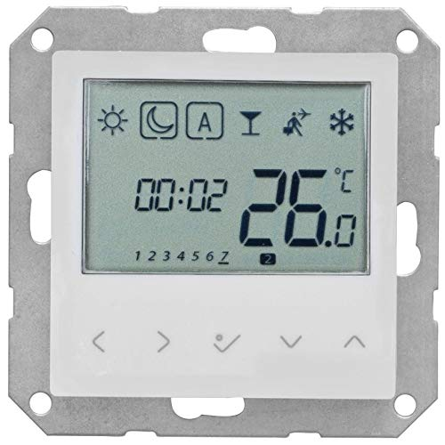 Salus Kombi-Raumthermostat, elektronisch, 230V/0,5A, mit Zentralplatte 55 x 55 mm, LCD-Display, weiß (9019459006)