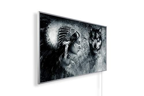 Könighaus Fern Infrarotheizung – Bildheizung in HD mit TÜV/GS - 200+ Bilder - Mit Thermostat - 7 Tages-Programm - 1000 Watt -078. Indianer und Wolf Black Edition_WR