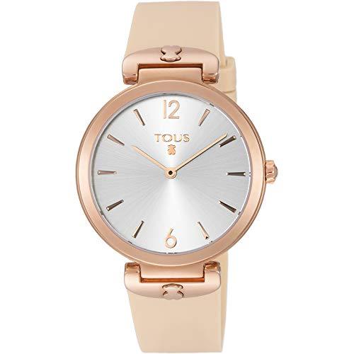 Reloj Tous S-Mesh de acero IP rosado con correa de silicona nude Ref:800350850