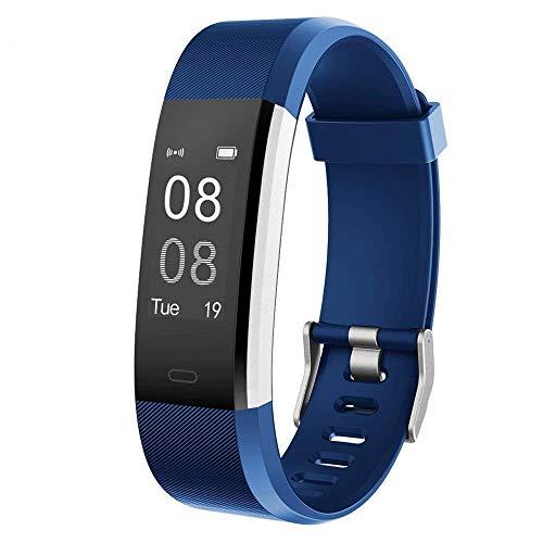 YAMAY Pulsera Actividad con Pulsómetro Mujer Hombre, Monitor de Actividad Deportiva, Ritmo Cardíaco, Impermeable IP67, Reloj Fitness, smartwatch con Podómetro, Color Azul