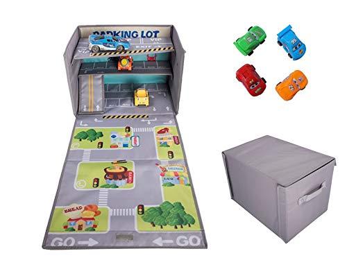 Aufbewahrung von Spielzeug im Auto - Spielzeugkiste mit Spielmatte - Leichte Kinderspielzeugkiste mit Tragegriffen - Faltbare Spielzeugkiste -Spielzeugkiste mit Autogarage zum Spielen