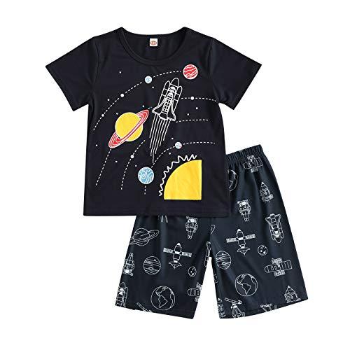 Carolilly Conjunto de 2 piezas de ropa de bebé casual de verano de manga corta con estampado de cómics + pantalones cortos Set de pijama de algodón Via Lattea 9- 10 Años