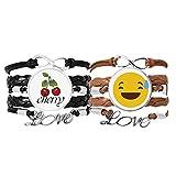 Bestchong Laugh Awkward Lindo Online Chat Face Pulsera de piel con diseño de caricaturas de caricaturas y cuerda de cuero con dos bandas de
