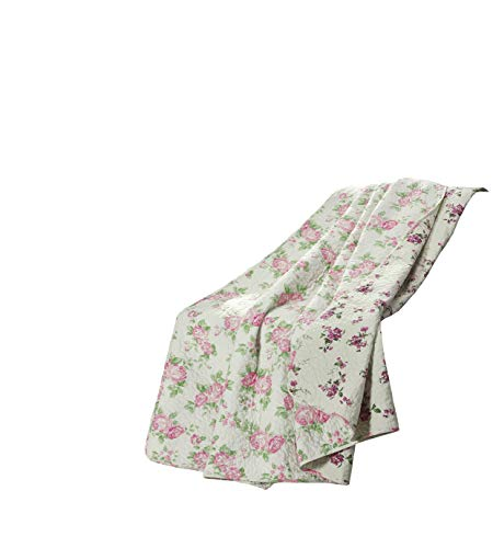 Chezmoi Collection Dakota Pink Rose Pre-Washed Cotton Shabby Chic Throw Blanket