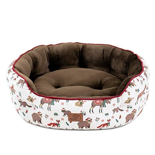 Bedsure Cama Gato Grande Estampada - Camas para Gatos Suave y Lavable con Patrón de Reno, Cojin Perro Pequeño Interior y Redonda, 64x53x24 cm