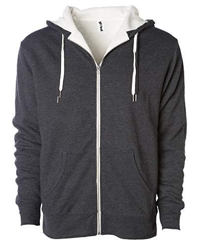 Global Unisex Heavyweight Sherpa Lined Zip Up Fleece Hoodie Jacket Charcoal L