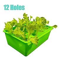 水耕栽培キット エアポンプ付き12穴自動植えボックス、無土壌水耕栽培ボックス、中型
