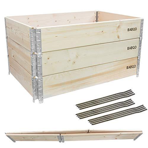 BABQO 3 Stück Paletten Aufsatzrahmen 120x80cm (3 Etagen) Hochbeet Holz Gartenbeet Frühbeet