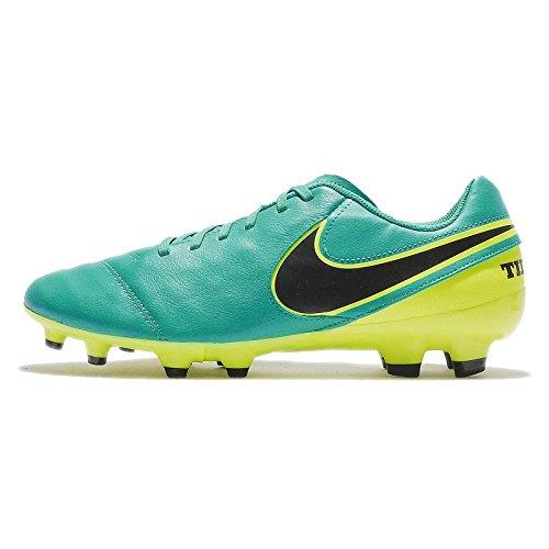 Nike Herren Tiempo Genio II Leather FG 819213 307 Fußballschuhe, Türkis (Clear Jade türkis/Volt gelb/schwarz), 41 EU