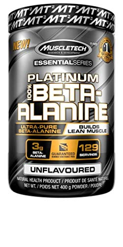 Beta Alanine, MuscleTech Platinum Beta-Alanine Powder, Builds Lean Muscle, 3g of Beta Alanine, Lean Muscle Builder for Men and Women, Unflavoured (129 Servings)
